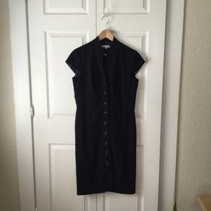 Sandra Darren Navy Midi Button Front Dress Size 12